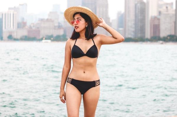 Black Bikini and Straw Hat